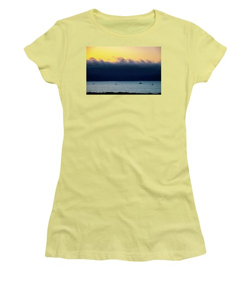 Women's T-Shirt (Junior Cut) featuring the photograph Thick Fog Blankets Sunset by Joseph Hollingsworth