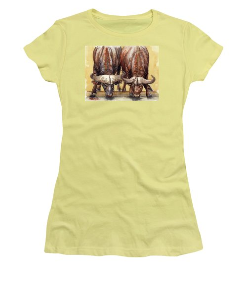 Thirsty Buffalo  Women's T-Shirt (Junior Cut) by Margaret Stockdale
