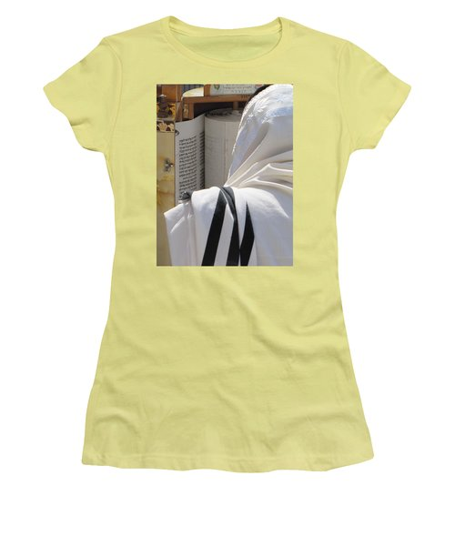 Thora Reading At The Western Wall Women's T-Shirt (Junior Cut) by Yoel Koskas