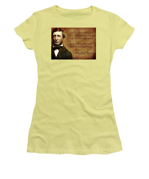 Thoreau Quote 1 Women's T-Shirt (Junior Cut) by Andrew Fare