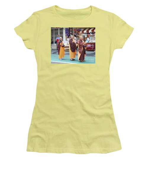 Women's T-Shirt (Junior Cut) featuring the photograph Three Buddhist Monks Chant Scriptures by Yali Shi