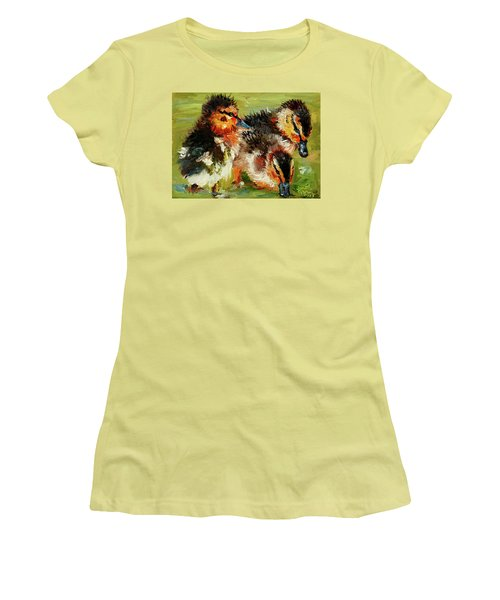 Three Little Ducks Women's T-Shirt (Athletic Fit)