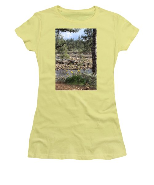 Women's T-Shirt (Junior Cut) featuring the photograph Three Rivers In One by Marie Neder