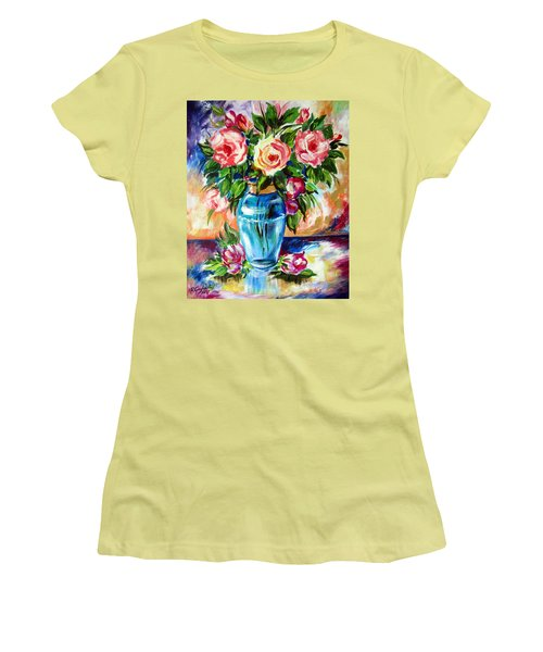 Women's T-Shirt (Junior Cut) featuring the painting Three Roses In A Glass Vase by Roberto Gagliardi
