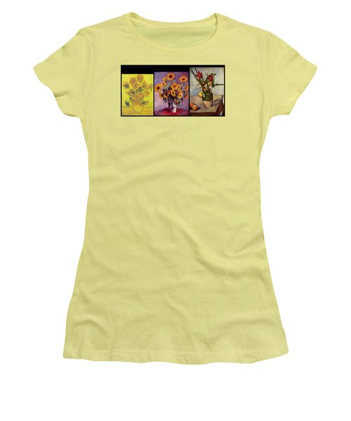 Three Vases Van Gogh - Cezanne Women's T-Shirt (Junior Cut) by David Bridburg