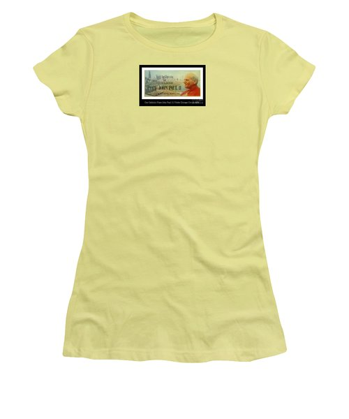 Women's T-Shirt (Junior Cut) featuring the photograph Ticket To Pope John Paul In Chicago 1979 by Sherri  Of Palm Springs