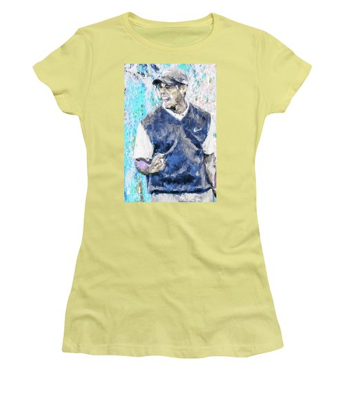 Women's T-Shirt (Junior Cut) featuring the photograph Tiger Says 2 Painting Digital Golf by David Haskett
