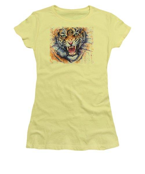 Tiger Watercolor Portrait Women's T-Shirt (Junior Cut) by Olga Shvartsur