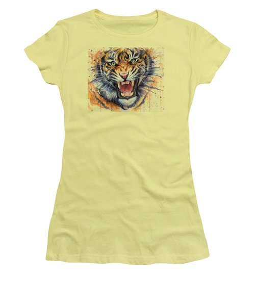 Tiger Watercolor Portrait Women's T-Shirt (Athletic Fit)