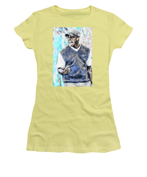 Tiger Woods One Blue Golfer Digital Art Women's T-Shirt (Athletic Fit)