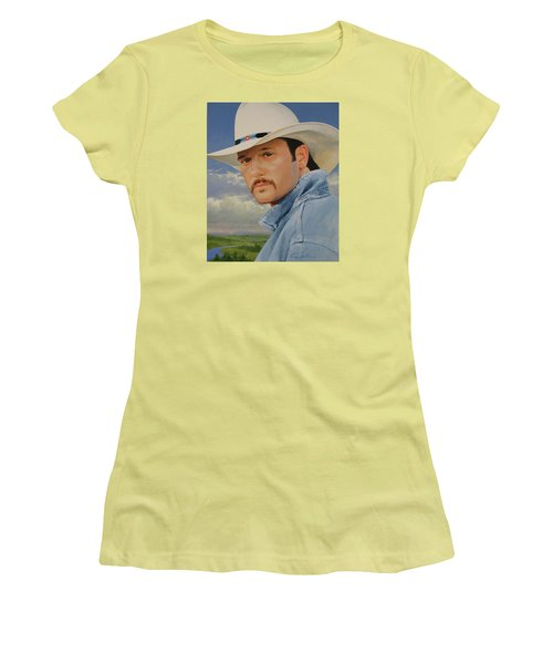 Women's T-Shirt (Junior Cut) featuring the painting Tim Mcgraw by Cliff Spohn