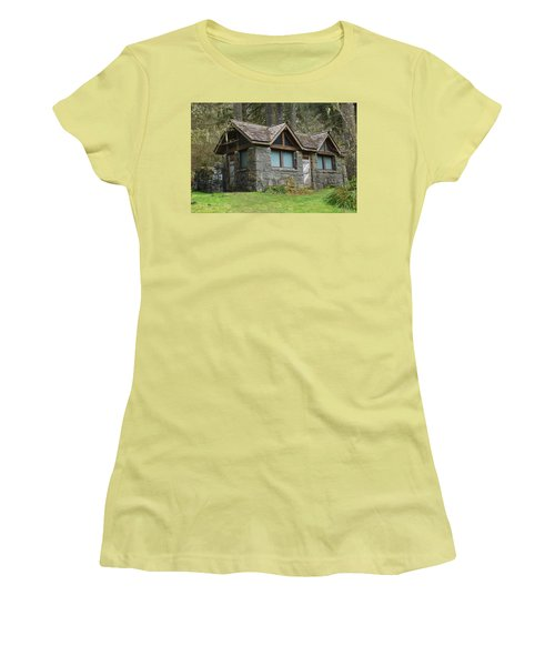 Tiny House In The Woods Women's T-Shirt (Junior Cut) by Angi Parks
