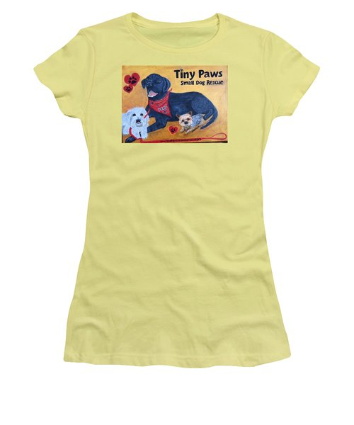 Tiny Paws Small Dog Rescue Women's T-Shirt (Athletic Fit)