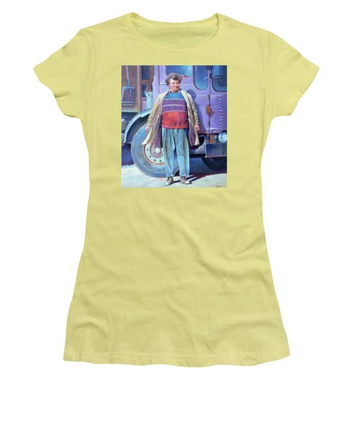 Women's T-Shirt (Junior Cut) featuring the painting Tipperman 1970. by Mike Jeffries