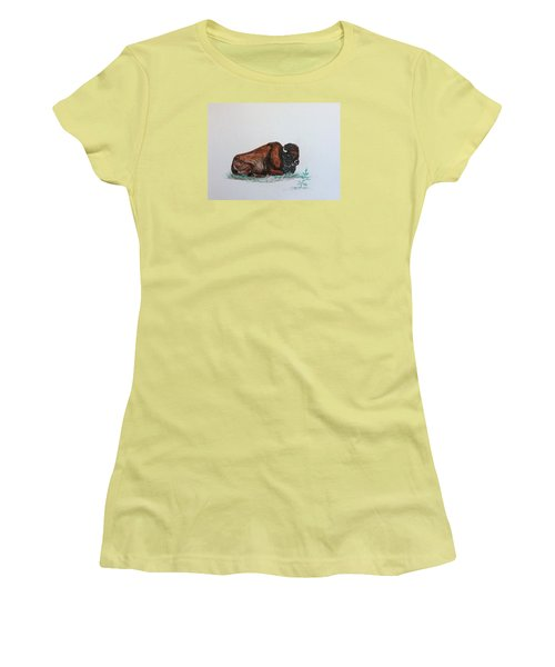 Tired Bison Women's T-Shirt (Junior Cut) by Ellen Canfield