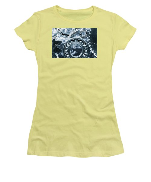 Women's T-Shirt (Junior Cut) featuring the photograph Titanium Gears Against Storm Clouds by Christian Lagereek