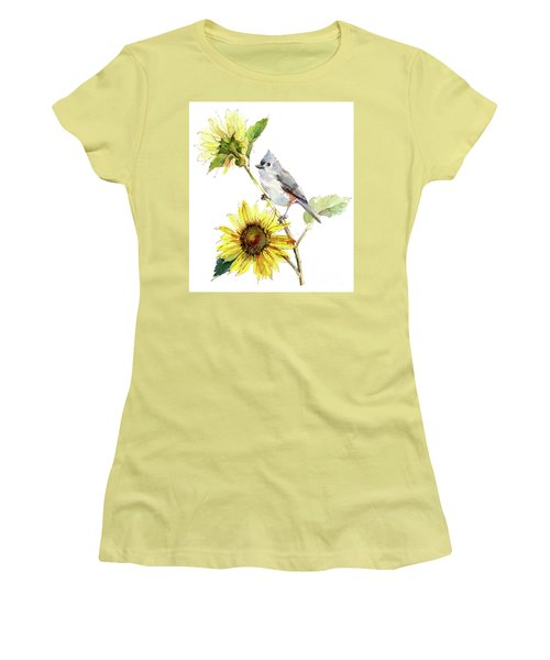 Titmouse With Sunflower Women's T-Shirt (Athletic Fit)