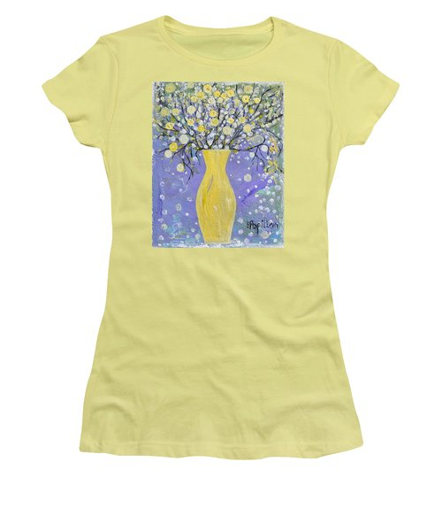 Women's T-Shirt (Junior Cut) featuring the painting To Brighten Your Evening by Evelina Popilian