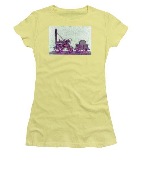 Stephenson's Rocket Steam Locomotive 1829 Women's T-Shirt (Junior Cut) by Wernher Krutein