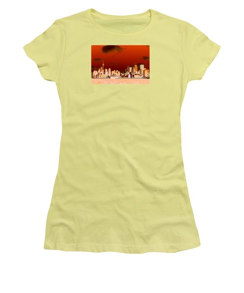 Women's T-Shirt (Junior Cut) featuring the photograph Toronto Red Skyline by Valentino Visentini