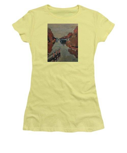 Women's T-Shirt (Junior Cut) featuring the painting Towards Pius Harbour by Nop Briex