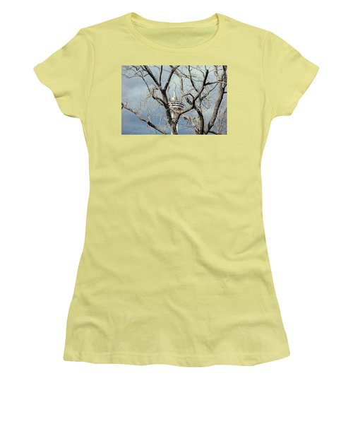 Women's T-Shirt (Junior Cut) featuring the photograph Tower And Trees by Valentino Visentini