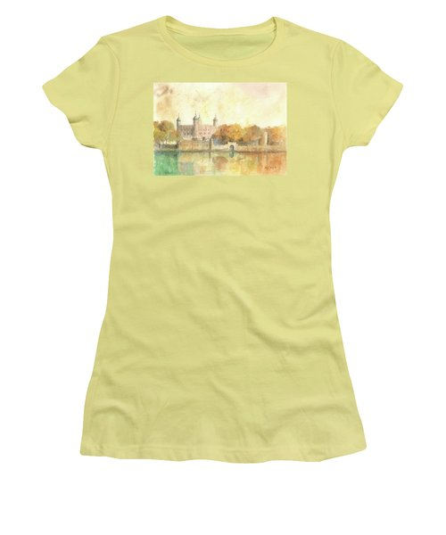 Tower Of London Watercolor Women's T-Shirt (Athletic Fit)