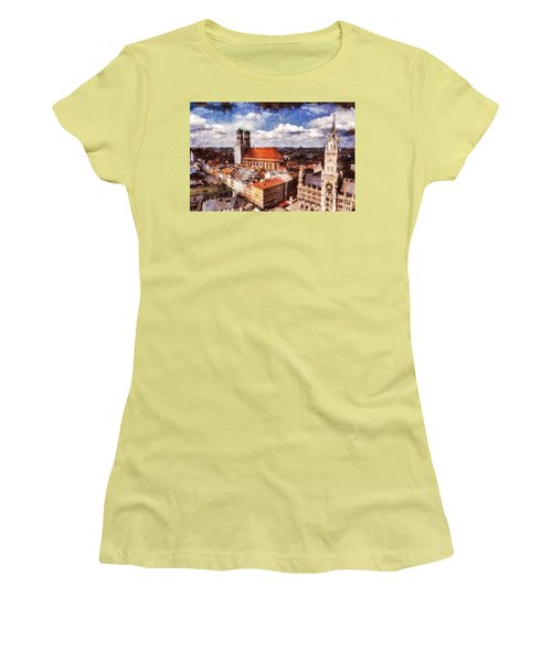 Women's T-Shirt (Junior Cut) featuring the photograph Town Hall. Munich by Sergey Simanovsky