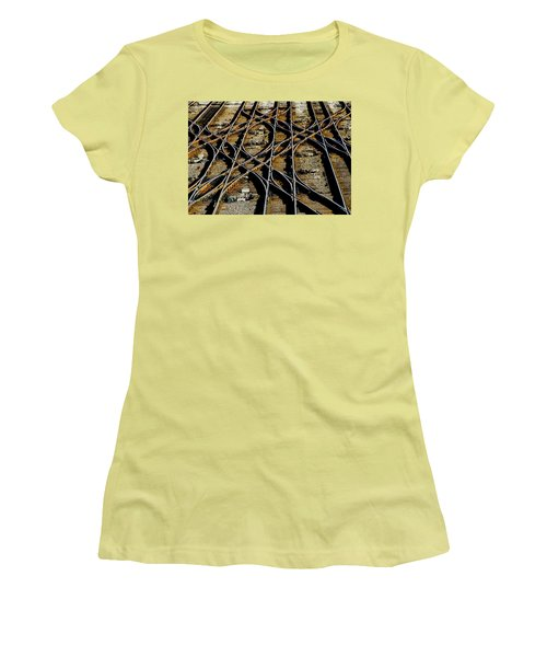 Women's T-Shirt (Junior Cut) featuring the photograph Tracks Of Abandon by Michael Nowotny