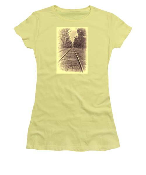 Women's T-Shirt (Junior Cut) featuring the digital art Tracks Through The Park by Dennis Lundell