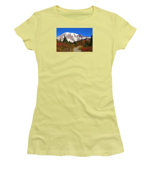 Women's T-Shirt (Junior Cut) featuring the photograph Trail To Myrtle Falls 2 by Lynn Hopwood
