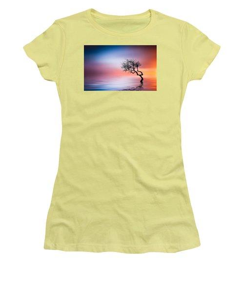 Tree At Lake Women's T-Shirt (Junior Cut) by Bess Hamiti