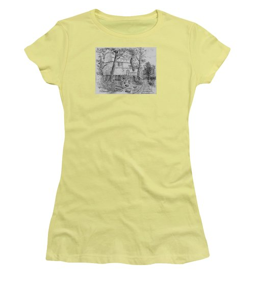 Women's T-Shirt (Junior Cut) featuring the drawing Tree House #5 by Jim Hubbard
