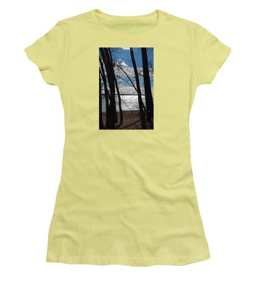 Women's T-Shirt (Junior Cut) featuring the photograph Trees And Lake Reflections by Valentino Visentini