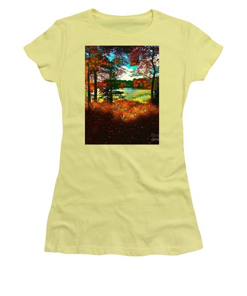 Trees And Shadows In New England Women's T-Shirt (Junior Cut) by Saundra Myles
