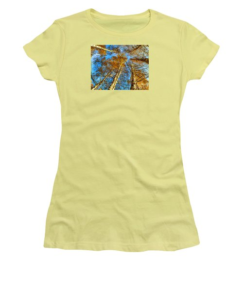 Trees Grow To The Sky Paint Women's T-Shirt (Junior Cut) by Odon Czintos