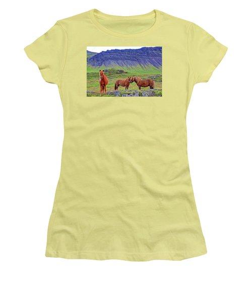 Women's T-Shirt (Junior Cut) featuring the photograph Triple Horses by Scott Mahon