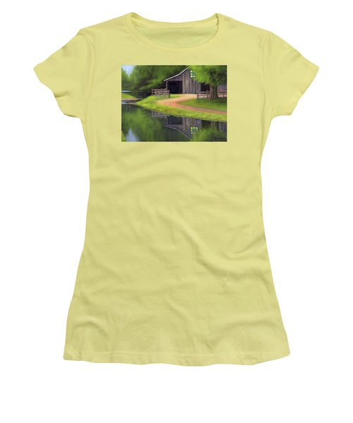 Women's T-Shirt (Junior Cut) featuring the painting Triple L Ranch  by Janet King