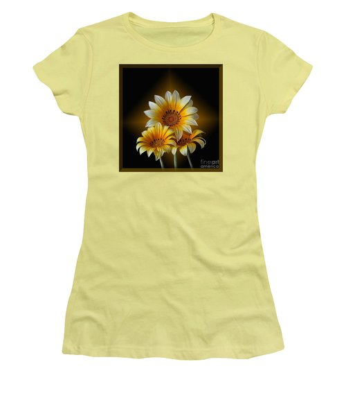 Women's T-Shirt (Junior Cut) featuring the photograph Triple Sunshine Black And Gold by Shirley Mangini