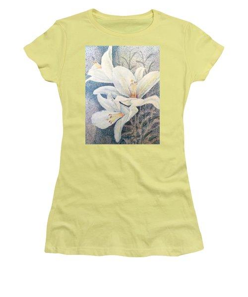 Triplefold White Women's T-Shirt (Athletic Fit)