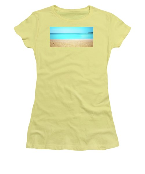 Tropical Art - Turquoise Sand Beach Lagoon Photography Women's T-Shirt (Athletic Fit)