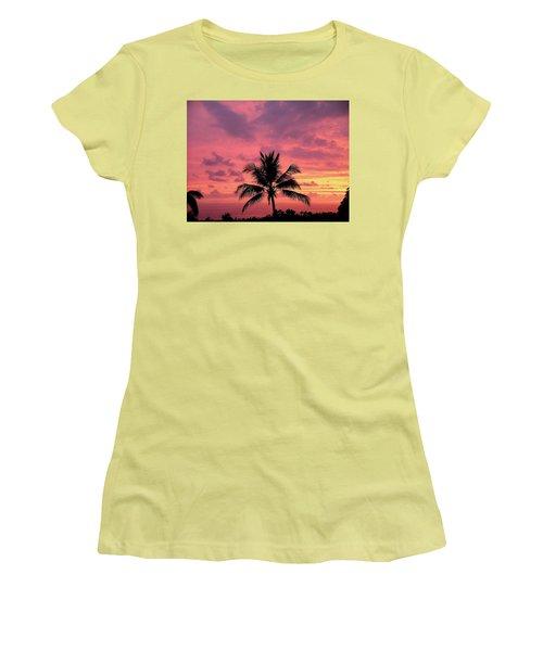 Women's T-Shirt (Junior Cut) featuring the photograph Tropical Sunset by Karen Nicholson
