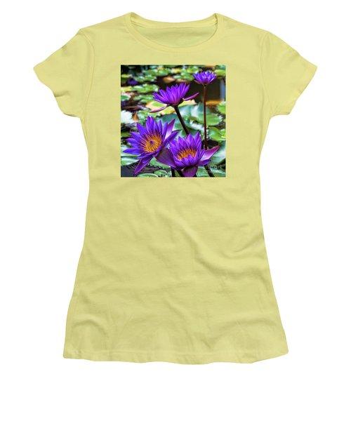 Tropical Water Lilies Women's T-Shirt (Junior Cut) by Karen Lewis