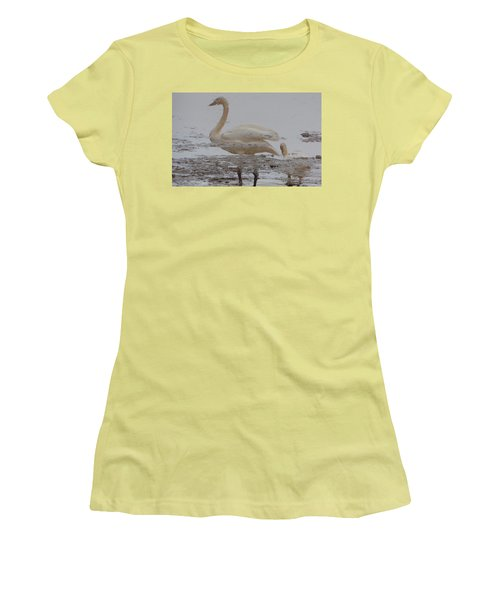 Trumpeter Swan Reflection Women's T-Shirt (Junior Cut) by Karen Molenaar Terrell