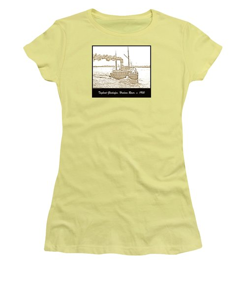 Women's T-Shirt (Junior Cut) featuring the photograph Tugboat Gladisfen Hudson River C 1900 Vintage Photograph by A Gurmankin