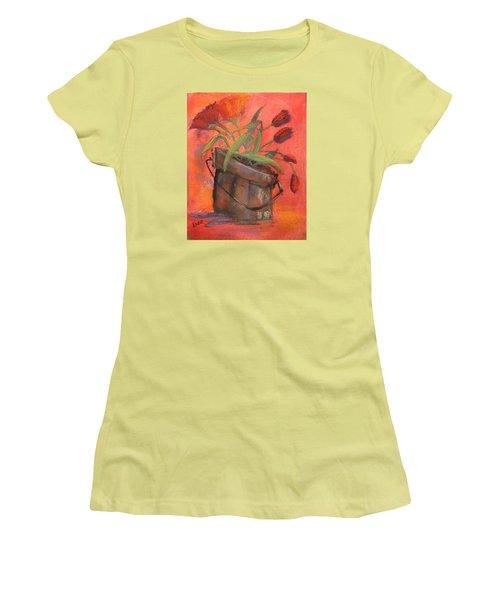 Tulip Bucket Women's T-Shirt (Junior Cut) by Terri Einer