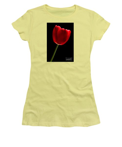 Women's T-Shirt (Athletic Fit) featuring the photograph Red Tulip No. 2 By Flower Photographer David Perry Lawrence by David Perry Lawrence