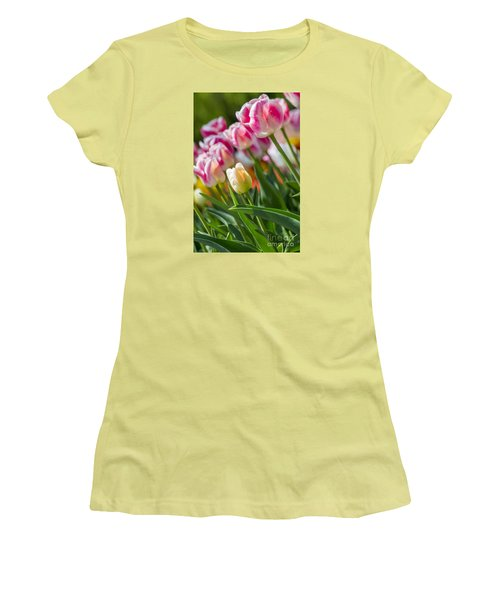 Women's T-Shirt (Athletic Fit) featuring the photograph Tulips by Angela DeFrias