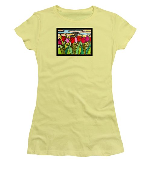 Tulips At Sunrise Women's T-Shirt (Junior Cut) by Jim Harris