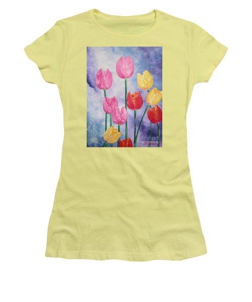Ten  Simple  Tulips  Pink Red Yellow                                Flying Lamb Productions   Women's T-Shirt (Athletic Fit)